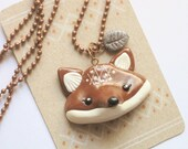 Fox head necklace - CHESTER - 4,3x3,0cm - copper chain - 70cm - hand sculpted - high quality gloss varnish