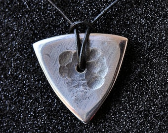 Hammered guitar pick, Plectrum, Stainless steel guitar pick pendant, Gift for musician, Guitar accessories, ready to ship - Trio