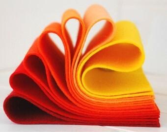 "100% Wool Felt Sheets - ""Hot Like Fire Collection"" - 7 Wool Felt Sheets of 8"" x 12"" in shades of Orange - Merino Wool Bundle - Felt Sheets"