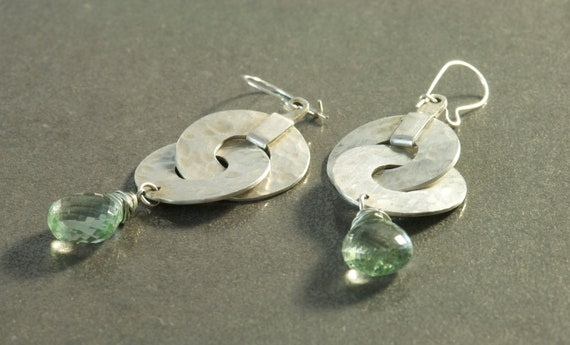 Silver and Gemstone Earrings, Handmade Hammered Texture Discs and Green Amethyst  Briolette Bead Earrings Boho Modern Style