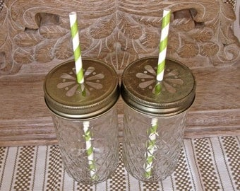 Mason Jar Tall Tumblers and Antique Gold Daisy Cut Mason Jar Lids - 12 Quilted Mason Jelly Jars - 12  Lids...JJB-12