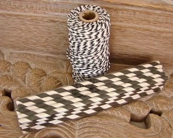 Paper Straws - 25 Black And White Striped Paper Straws And One Full 100 Yard Spool of 100% Cotton Black and White Baker's Twine