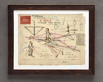 "Poster Art Print: -  ""Vintage Flying Machine Patent Drawing from 1869"" - 8 x 10 poster,  Vintage Aviation, Historical, Man powered Flight"
