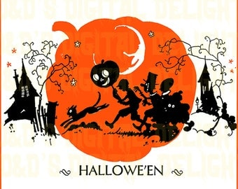RARE VINTAGE Halloween Digital Download. Kids Trick Or Treating.