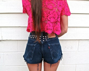 Circle Studded Beauty High Waist Shorts