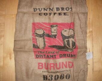 Burundi Burlap Coffee Bag, Dunn Bros Gunny Sack, Land of Distant Drums, Tribal Home Decor Diy Colorful Screenprint