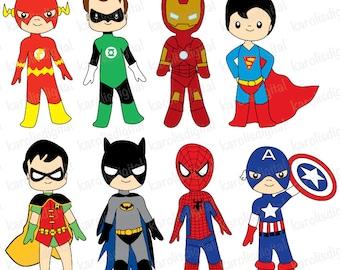 Superheroes - Digital clip art set - ironman, batman, flash, spiderman - Personal & commercial use