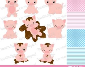 Cute pigs -  clip art & digital paper set