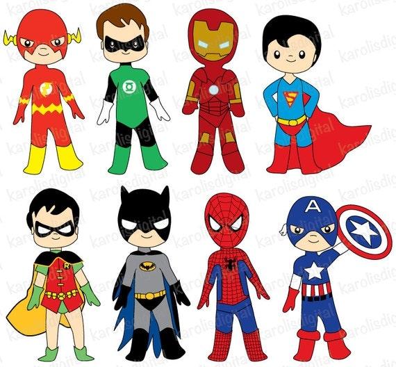 Superheroes digital clip art set ironman batman flash - Super hero flash ...