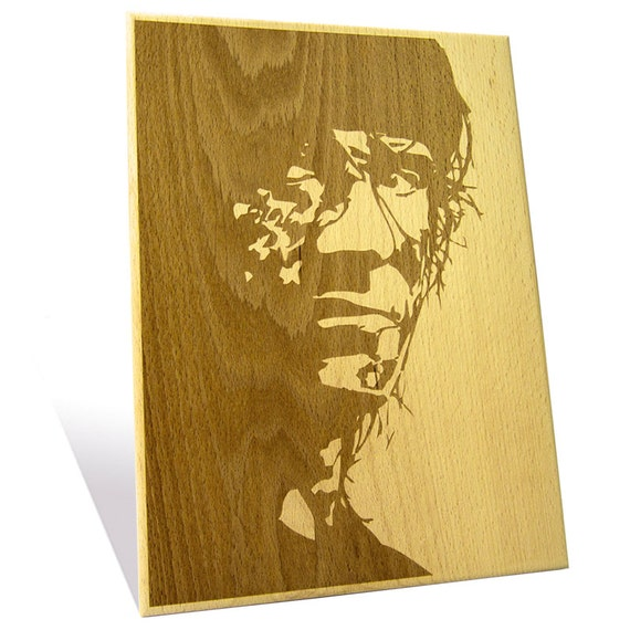 Sylvester Stallone portrait etched on a Wooden Plaque