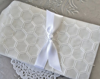 25 Glassine Bags, Embossed with Honeycomb Hexagon Pattern