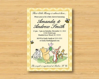 Classic Winnie the Pooh Baby Shower Invitation - Printable - Book Shower Gender Neutral Vintage