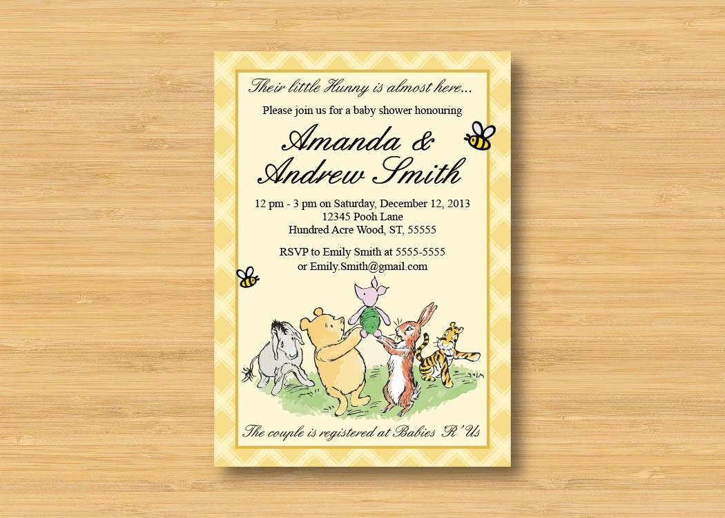 classic winnie the pooh baby shower invitation printable