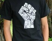 """Short Sleeve T-Shirt """"Power for the Oppressed"""" -- White on Black"""