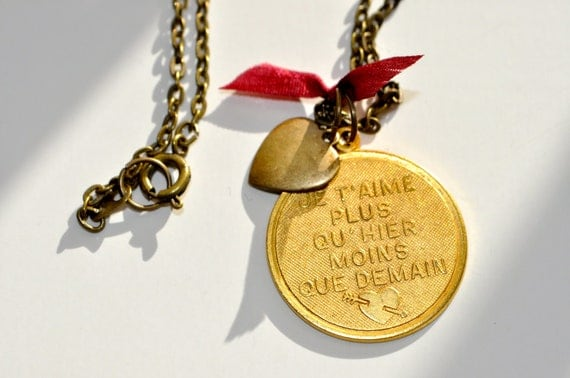 French words medallion necklace-silk bow necklace-romantic french necklace