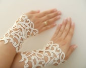 bride lace gloves, Wedding Gloves, ivory Lace gloves