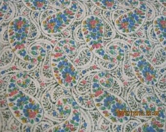 Vintage paisley fabric with green, rose and blue detail