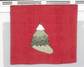 READY TO SHIP Christmas Tree Applique' Towel Christmas Holiday Bathroom Kitchen Shower Hostess Home Decor Gift