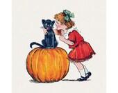 Halloween Cotton Fabric Block - Girl Whispers to Cat on Pumpkin