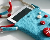 iPad Cover Crochet Pattern, Felted Button Cross-body Bag