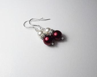 Bridesmaid Earrings, Wedding Jewelry, White Swarovski Pearl and Deep Red  Glass Pearl  earrings
