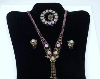 Dragon Egg Stones Jewelry Set  / Book Piece Mid Century / Wedding Jewelry