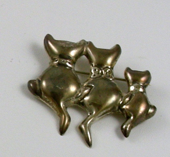 Mexican Sterling - 3 Cats Brooch - 1960s