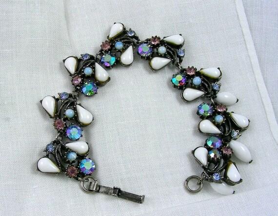 Gorgeous Vintage Florenza Bracelet, Milk Glass, Blue Aurora Borealis