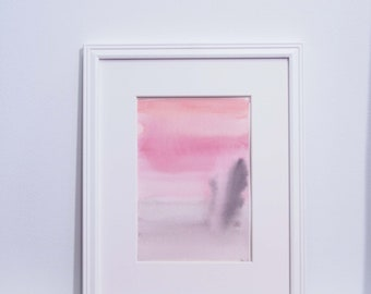 Small Abstract Painting - Peach, pink, grey, abstract landscape with watercolor, original painting 4x6