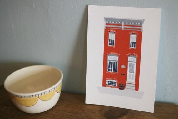 """RESERVED FOR ALLISON Custom Row House Illustration 5""""x7"""""""