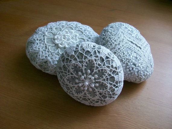 Naturel,Crochet Covered Beach lace Stones ,..home decor ,wedding gift,decor,Handmade by Arzu