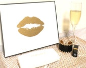 Art Gold or Silver Print 24K Lip Kiss Stylish Gold and White Painting by Jennifer Latimer