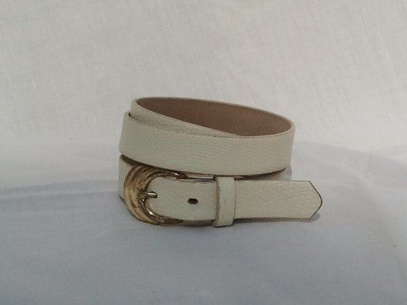 Womens Vintage Skinny White Leather Belt