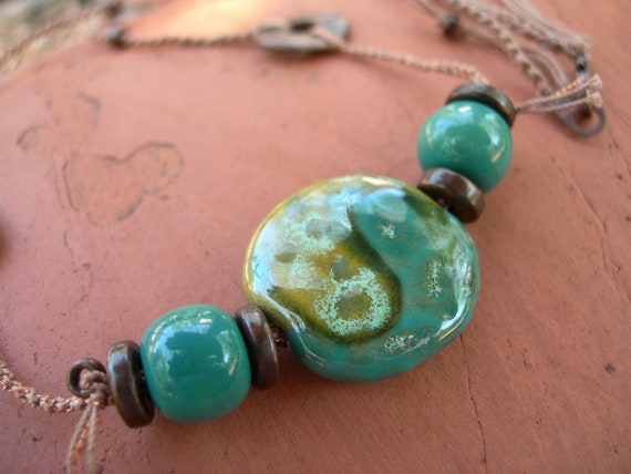 Kazuri Hand-Knotted Macrame Necklace Cirrus Green with Bronze Disks