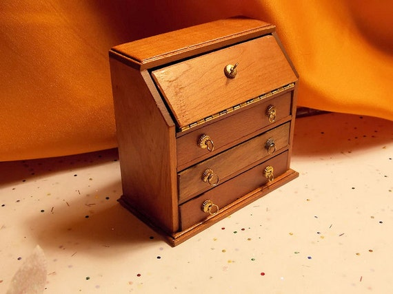 Doll house Shackman Secretary  -  Dollhouse  Walnut Desk - Miniature Secretary -  40 Yrs old - 1 12th Scale