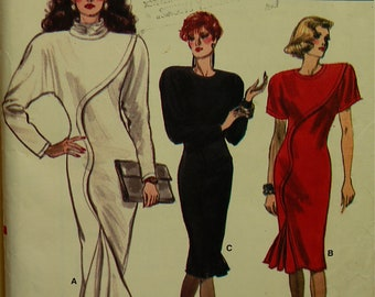 Dress Mock Front Curved Tuck - 1980's - Vogue Pattern 7039  Uncut Size 10  Bust  32.5""