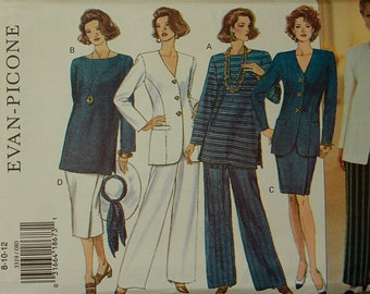 Designer Jacket, Skirt, Top & Pants Set by Evan-Picone -1990's- Butterick Pattern 3319  Uncut   Sizes 8-10-12  Bust 31 1/2 to 34""