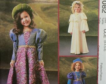"Girls' Renaissance Costumes McCall's Pattern 4082  Uncut Sizes 3-4-5-6  Chest 22-23-24-25"""