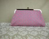 Handmade dot pattern clutch in pink by Alice