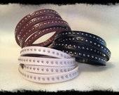 Leather Wrap Bracelet w/ Silver Metal Studs - Leather Bracelet - Studded Bracelet
