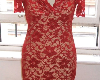 Baylis & Knight Red Nude LACE  POLLY Twist Pencil Wiggle Dress Burlesque Dita Pin Up Short Sleeve