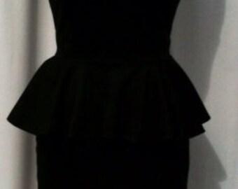 Baylis & Knight Black Ponte PEPLUM  Sleeveless Low Cut Wiggle Hobble Knee Dress Dita Burlesque Pin Up