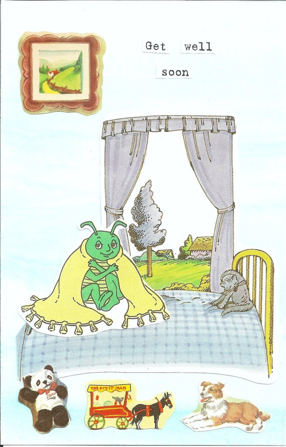 Get well blank card, handmade, caterpillar with blanket on bed, next to window, sweet message to someone who is under the weather