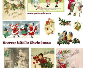 Merry Little Christmas Digital Collage Sheet
