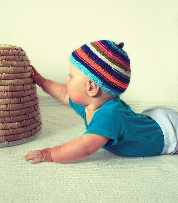 Knit striped baby hat girl