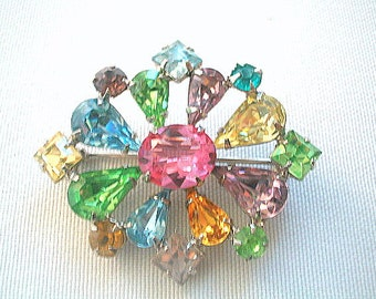 Pastel Rhinestone Brooch Prong Set Multicolor