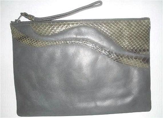 Vintage Gray Leather & Snake Trim Designer Clutch Purse Handbag by Ruth Saltz