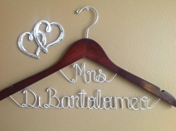 Wedding hanger,bridal hanger, Mrs on top hangers, Wedding hangers, Wedding dress hanger, One line hanger,Bride hanger,personalized hanger