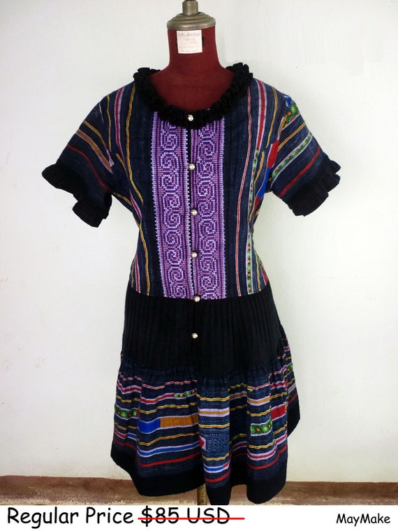 Sale 50% : Christmas in july sale and 3 months shop anniversary, Thai purple hand woven dress.