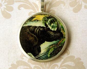 Victorian Black Rhino Pendant , Sterling silver Bezel, Totem Pendant